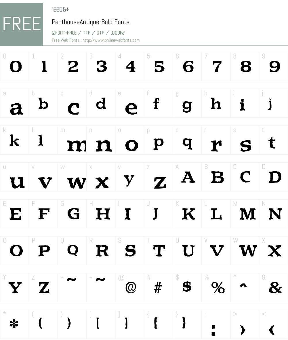 PenthouseAntique Font Screenshots