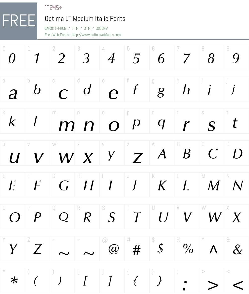 Optima LT Medium Font Screenshots