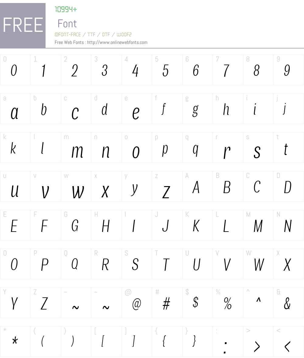 AirW00-CompLightItalic Font Screenshots
