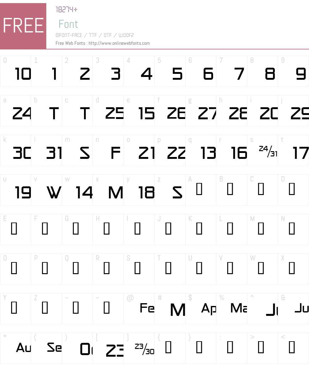 CalendarFont Font Screenshots