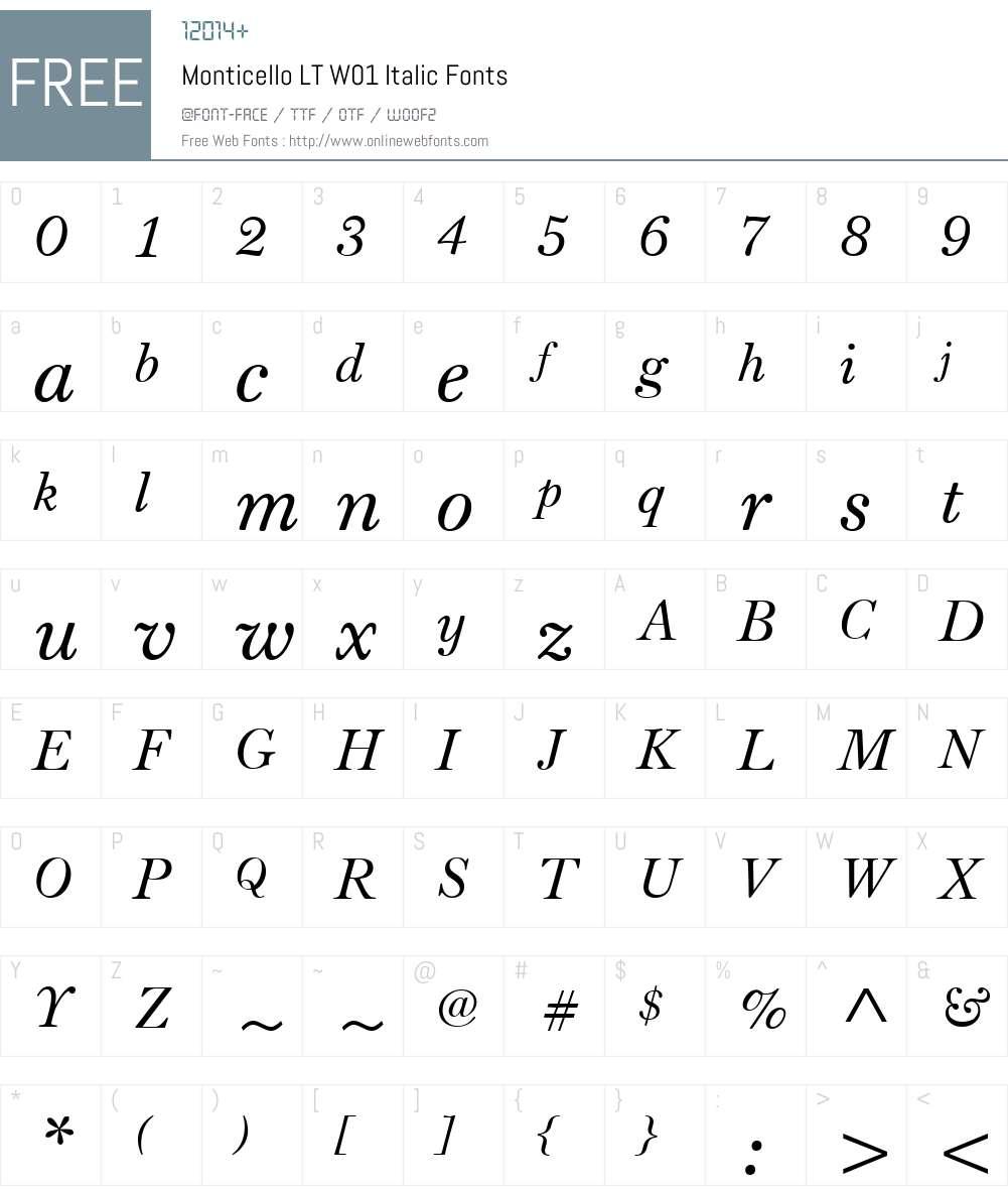 MonticelloLTW01-Italic Font Screenshots