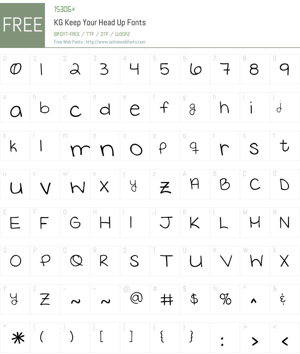KG Keep Your Head Up Font Screenshots