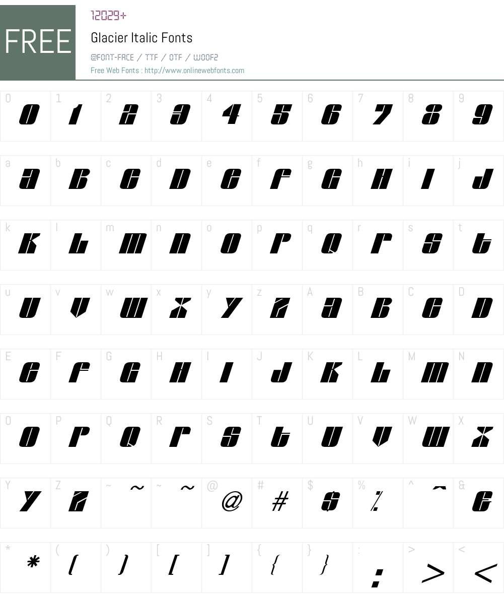 Glacier Font Screenshots