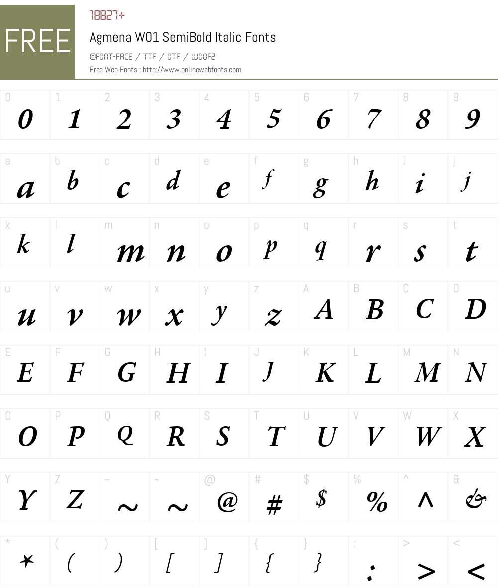 AgmenaW01-SemiBoldItalic Font Screenshots