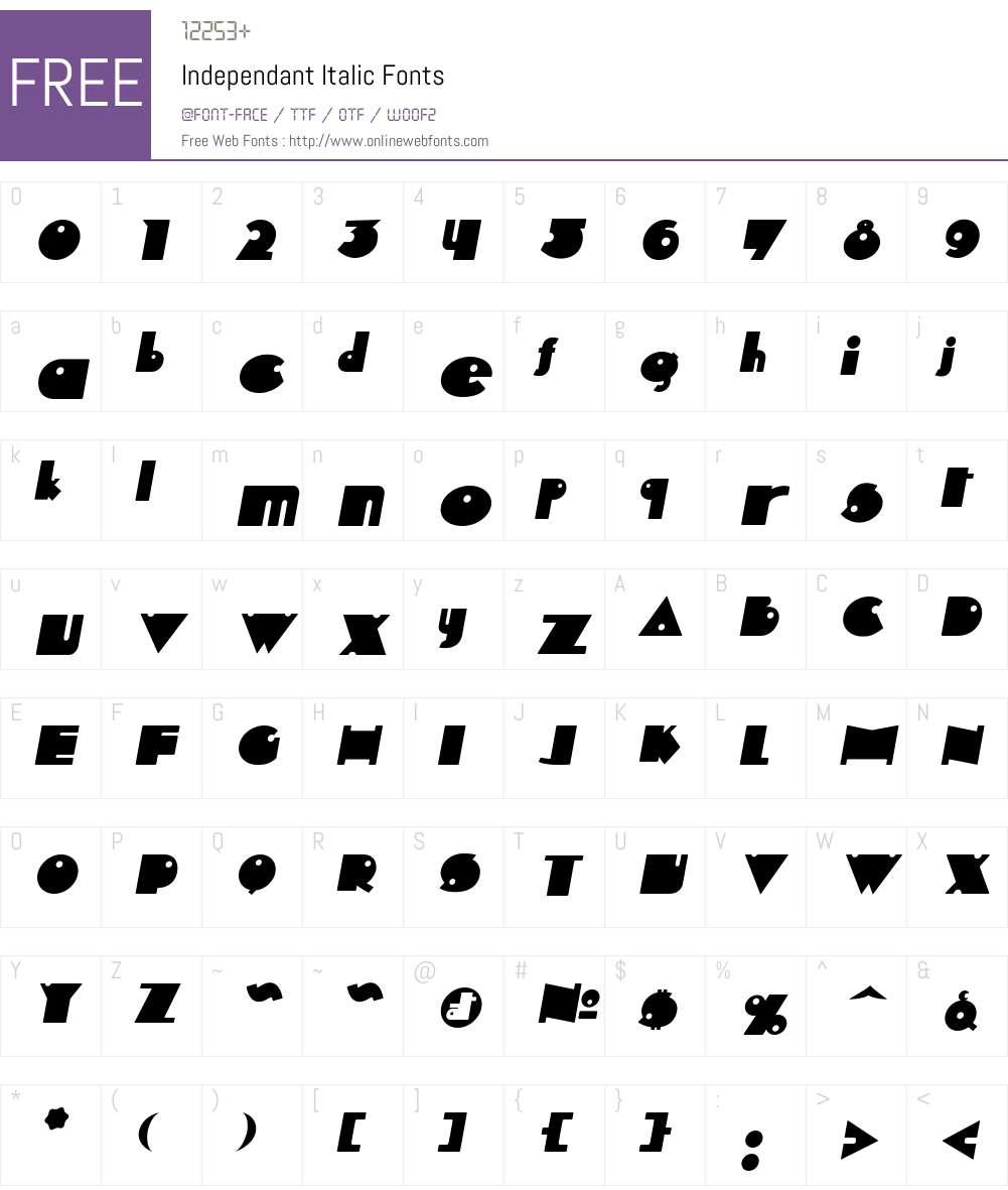 Independant Font Screenshots