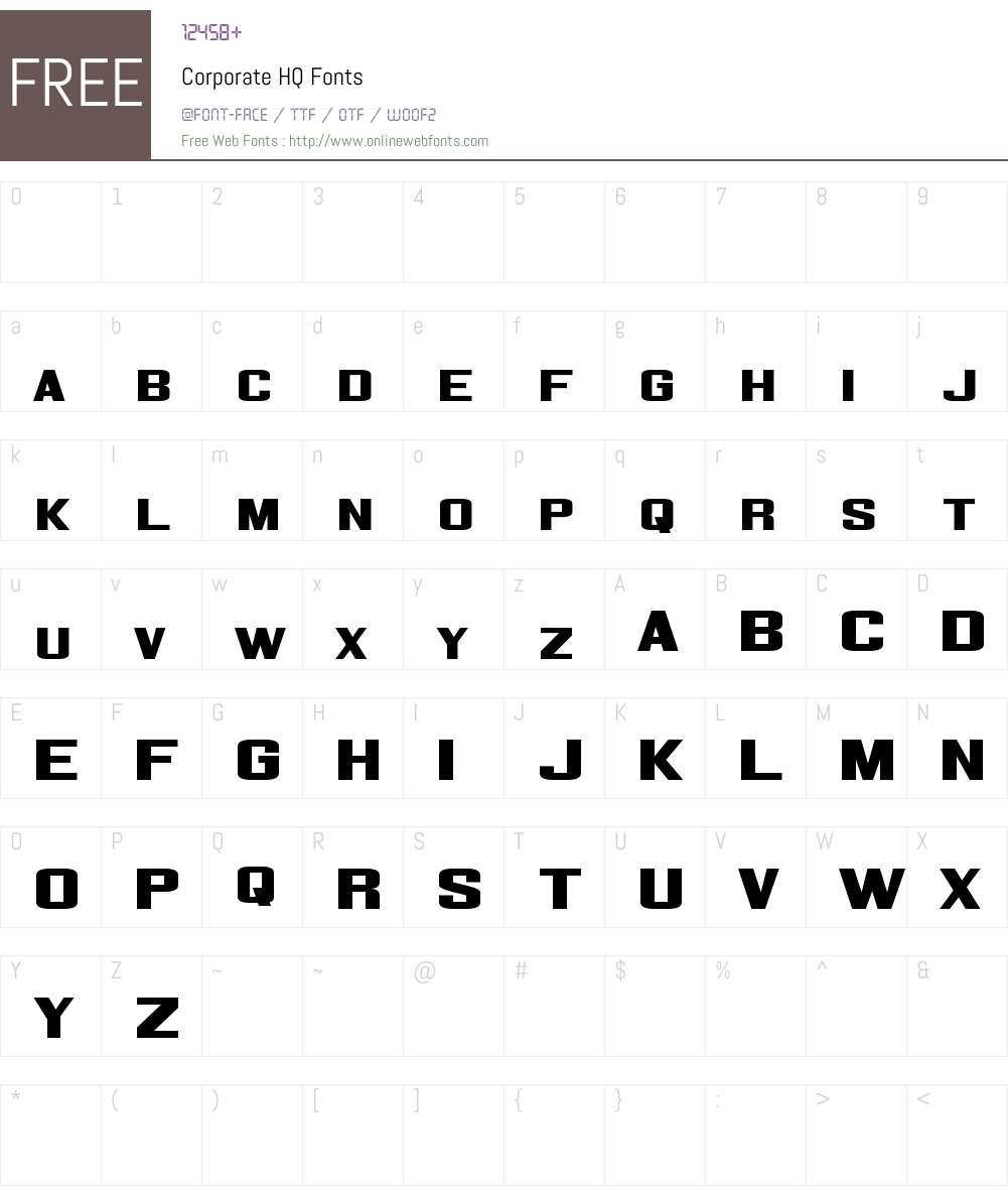 Corporate HQ Font Screenshots