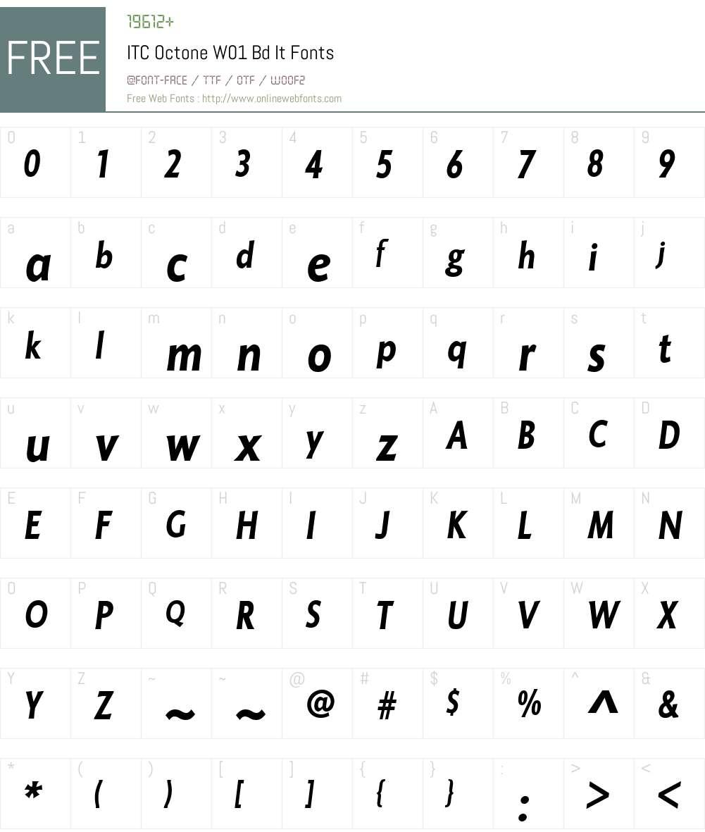 ITCOctoneW01-BdIt Font Screenshots