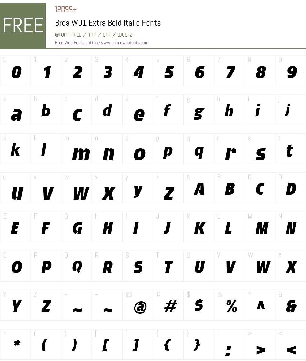 BrdaW01-ExtraBoldItalic Font Screenshots
