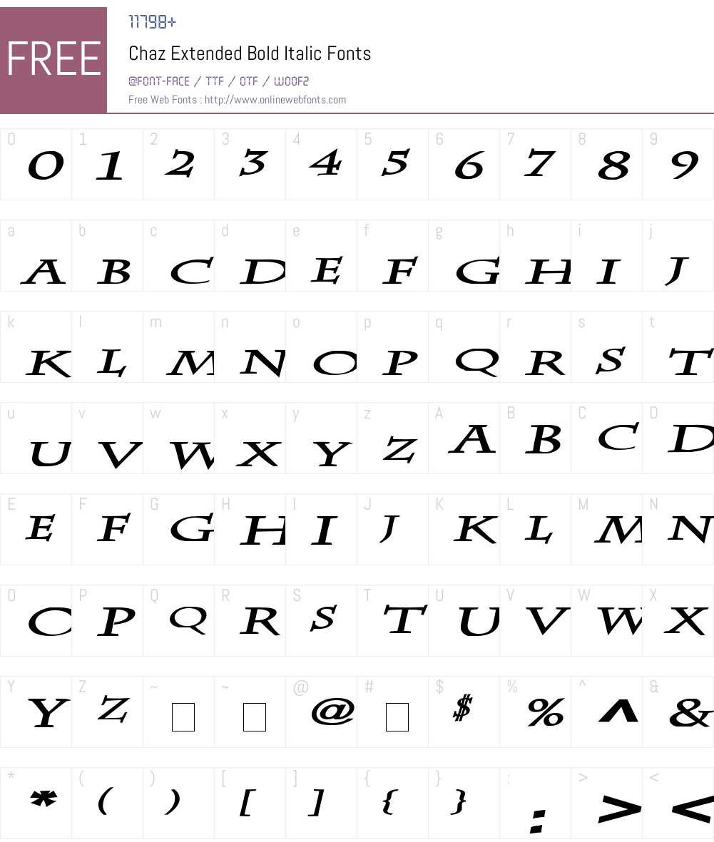 Chaz Extended Font Screenshots