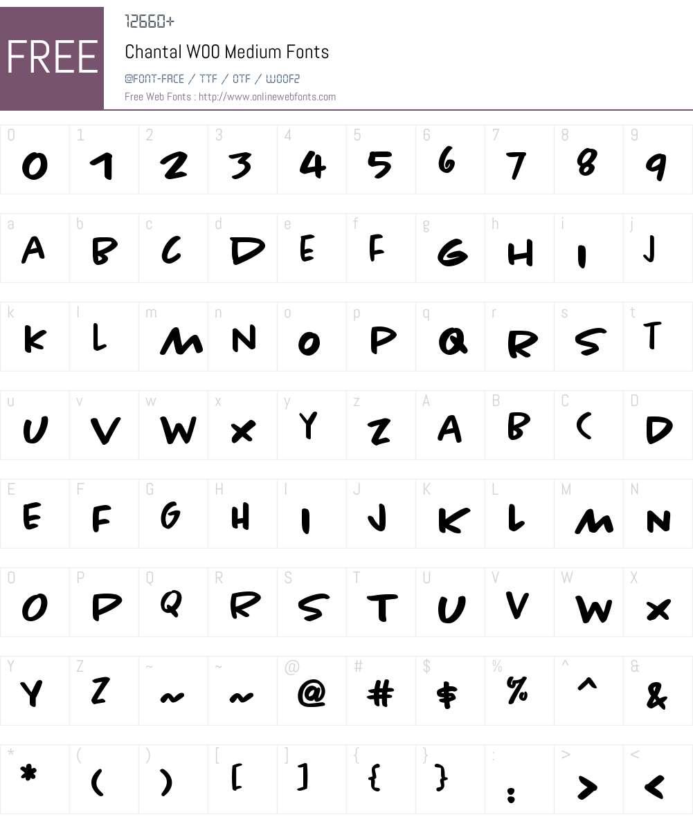 ChantalW00-Medium Font Screenshots