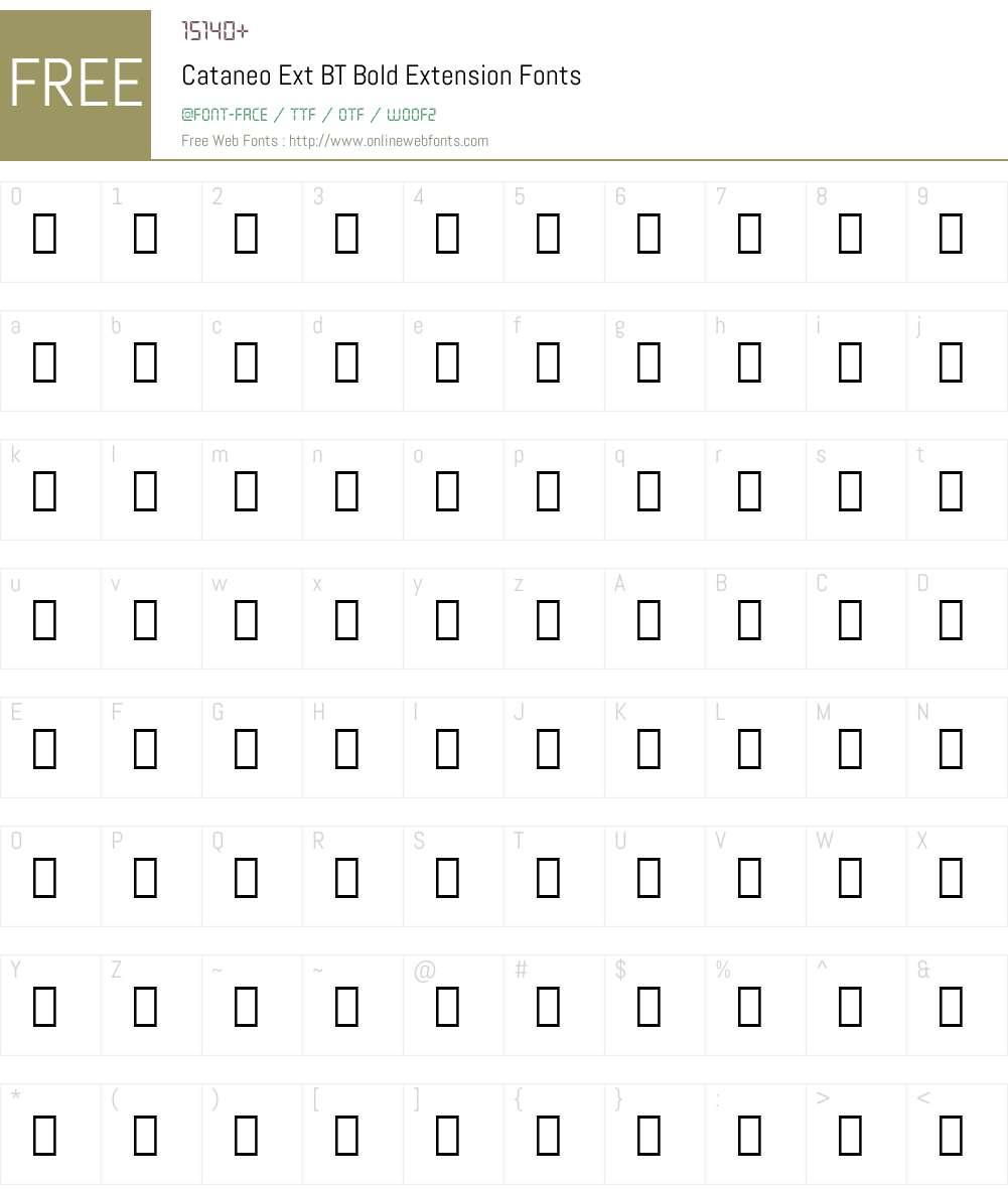 Cataneo Ext BT Font Screenshots