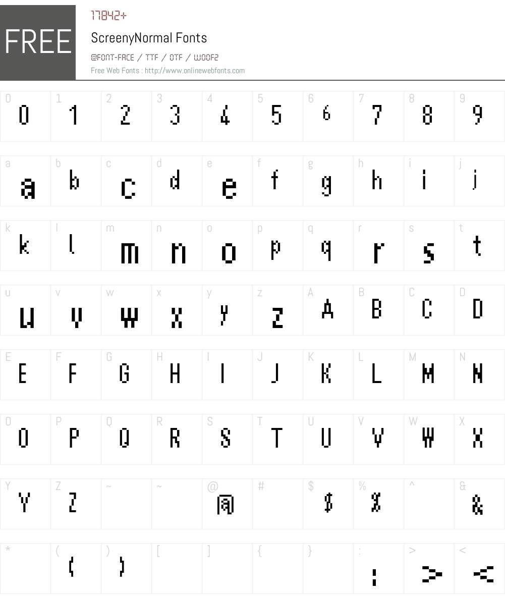 ScreenyNormal Font Screenshots