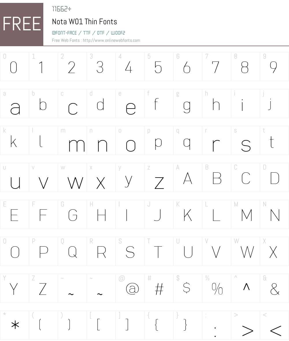 NotaW01-Thin Font Screenshots