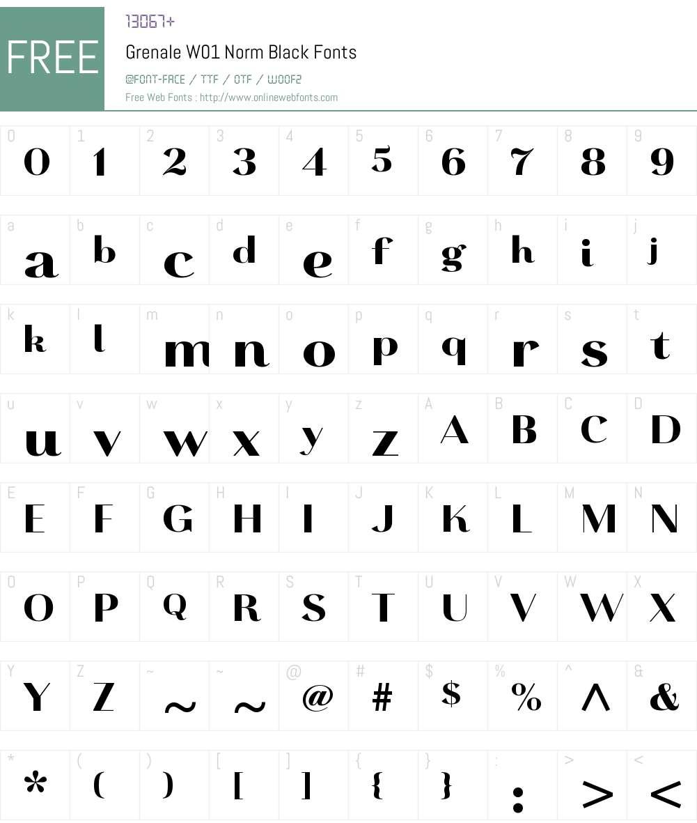 GrenaleW01-NormBlack Font Screenshots
