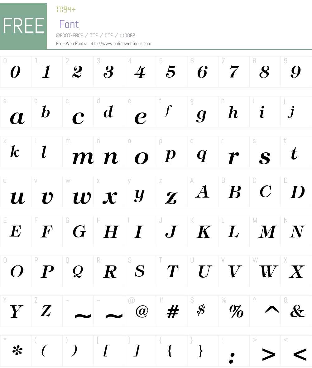 Tiffany Lt BT Font Screenshots