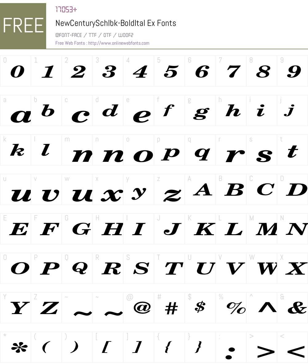 NewCenturySchlbk-BoldItal Ex Font Screenshots