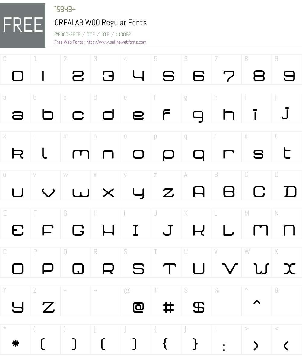 CREALABW00-Regular Font Screenshots