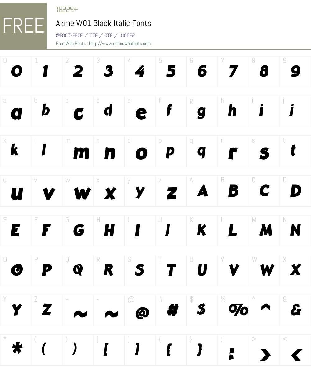 AkmeW01-BlackItalic Font Screenshots