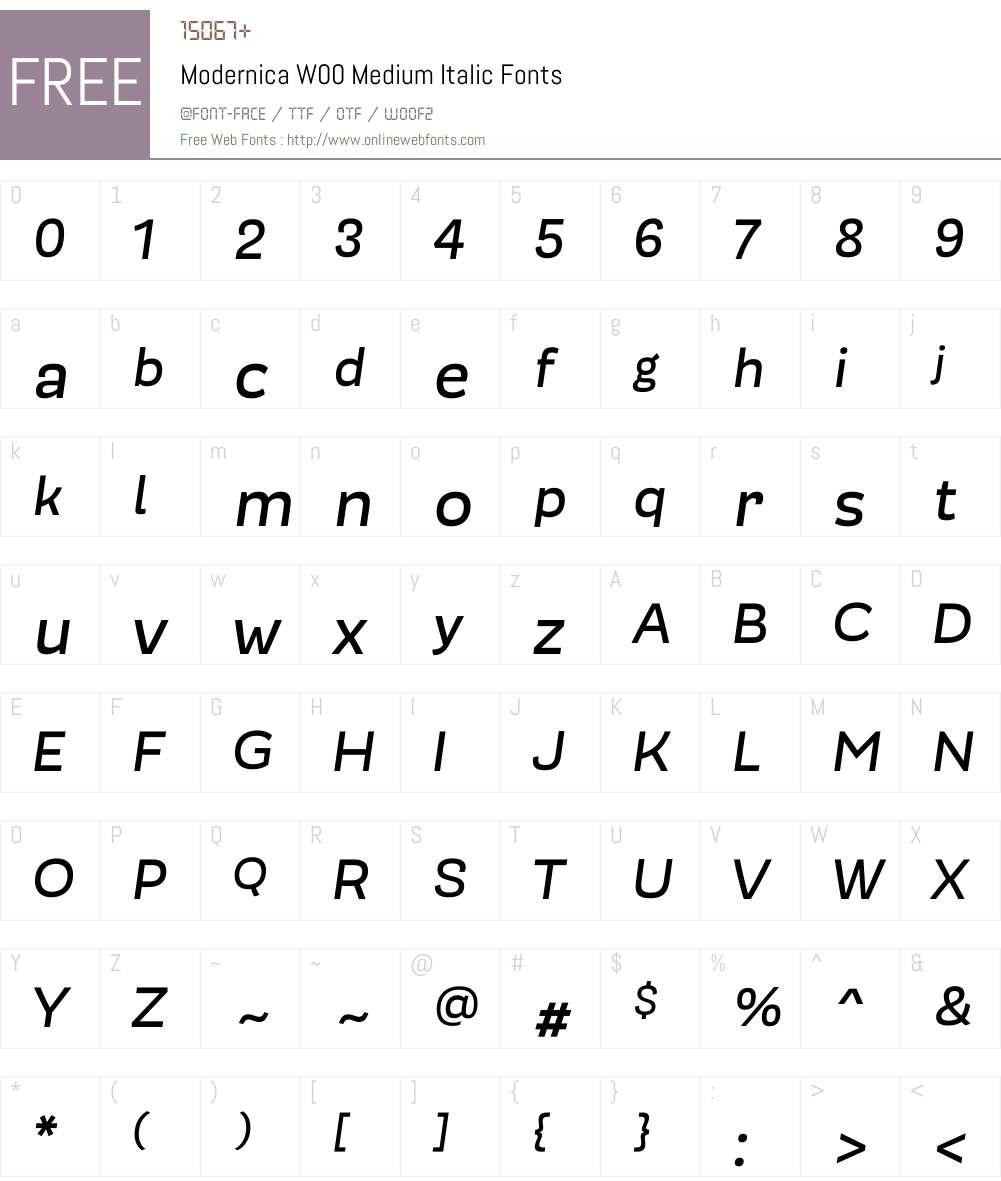 ModernicaW00-MediumItalic Font Screenshots
