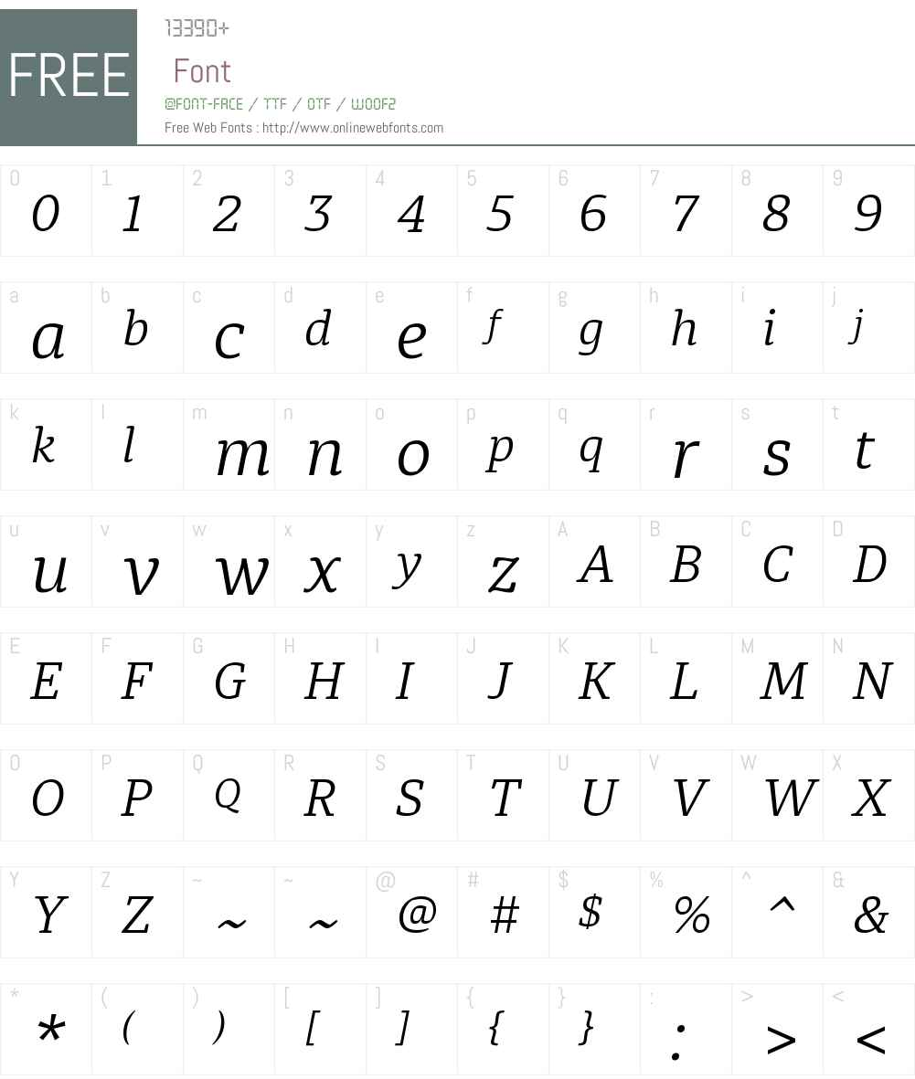 DiariaW00-LightItalic Font Screenshots