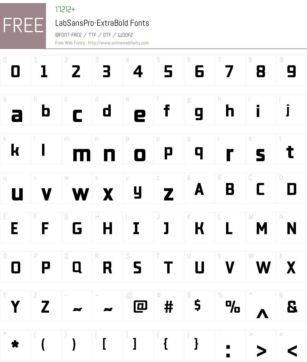 Lab Sans Pro ExtraBold Font Screenshots