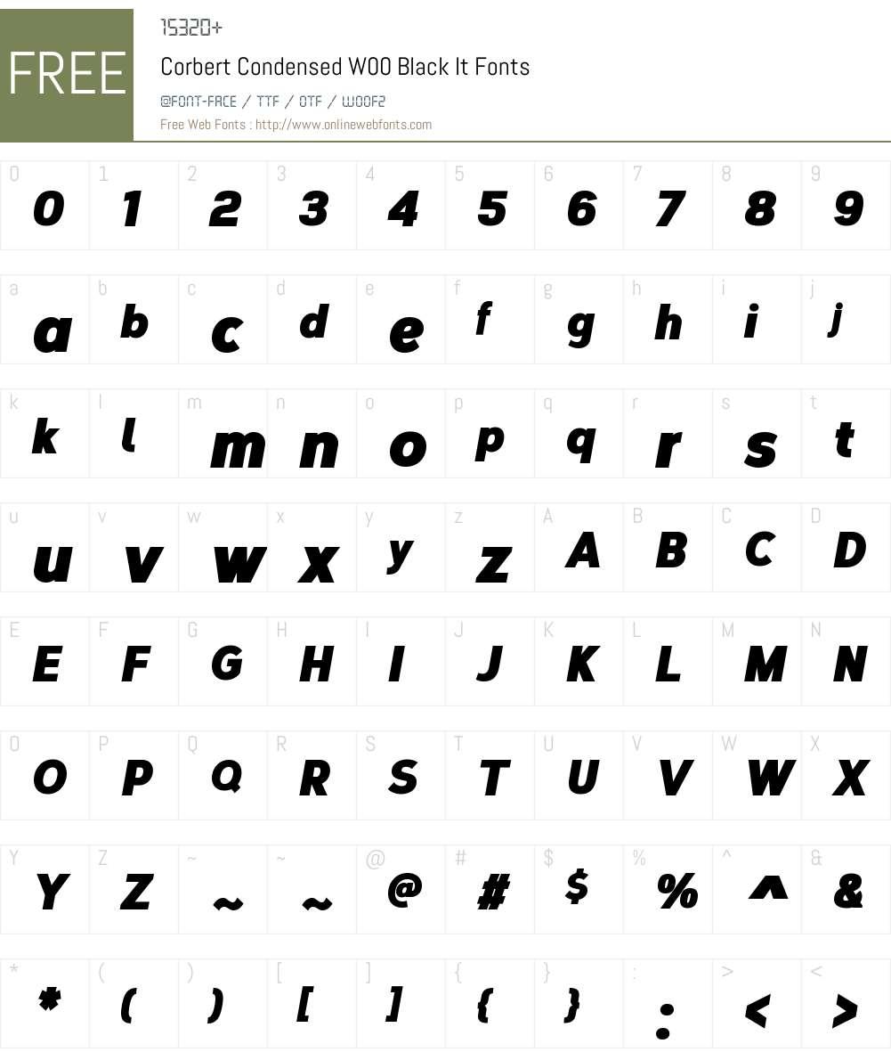 CorbertCondensedW00-BlackIt Font Screenshots