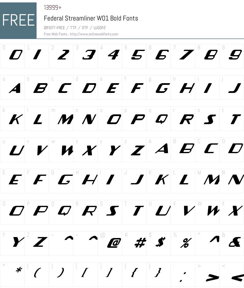 FederalStreamlinerW01-Bold Font Screenshots