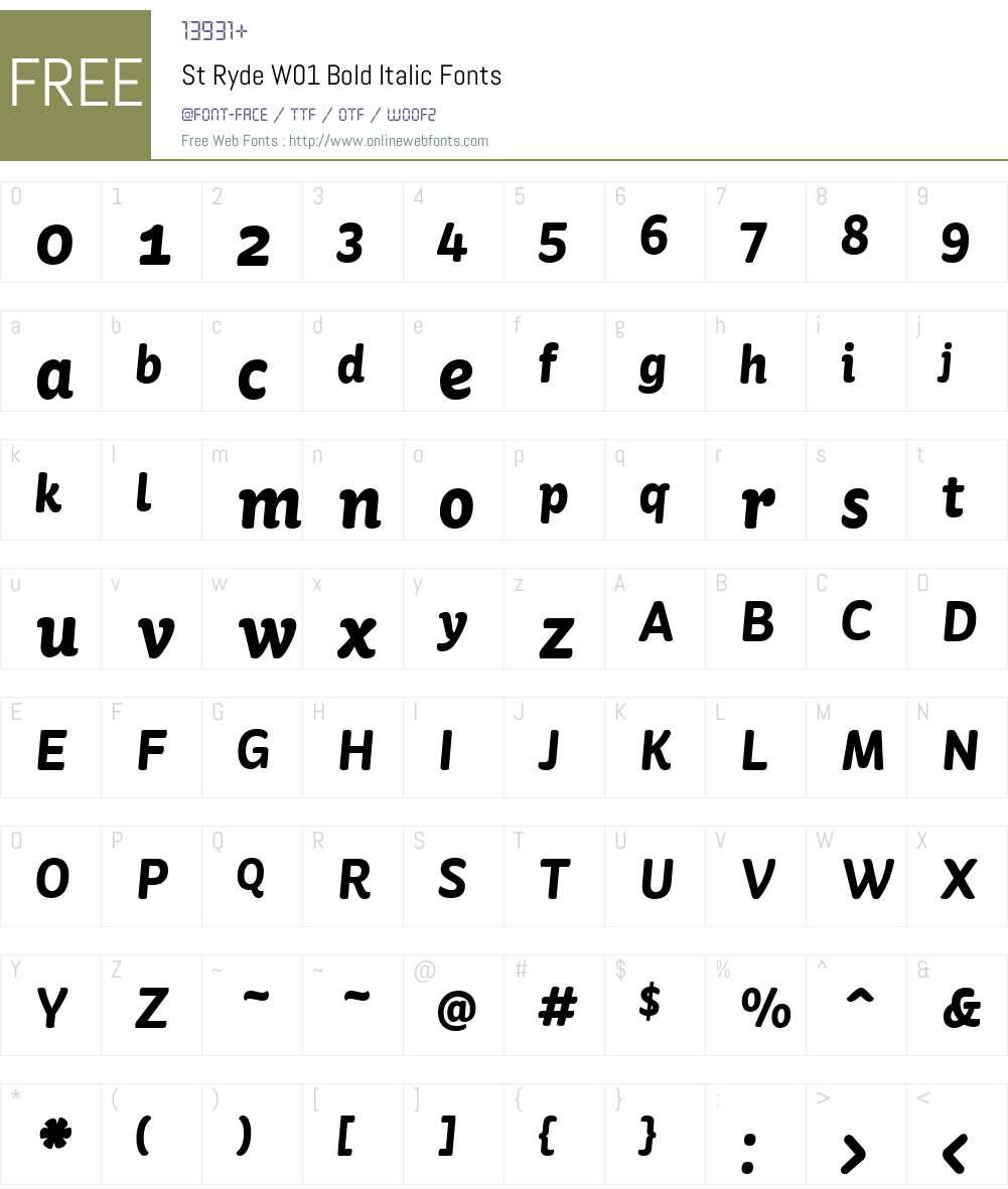 StRydeW01-BoldItalic Font Screenshots