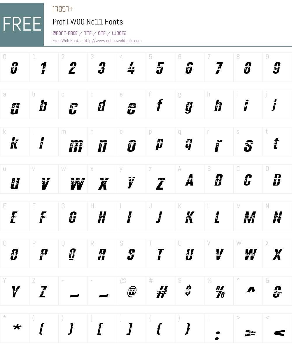 ProfilW00-No11 Font Screenshots