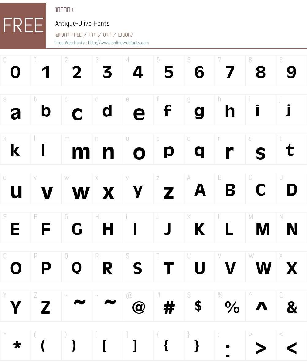Antique-Olive Font Screenshots