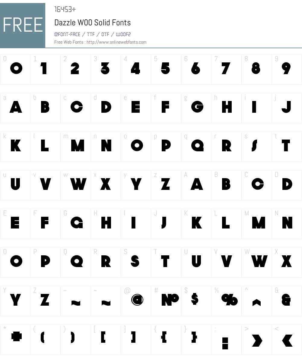 DazzleW00-Solid Font Screenshots