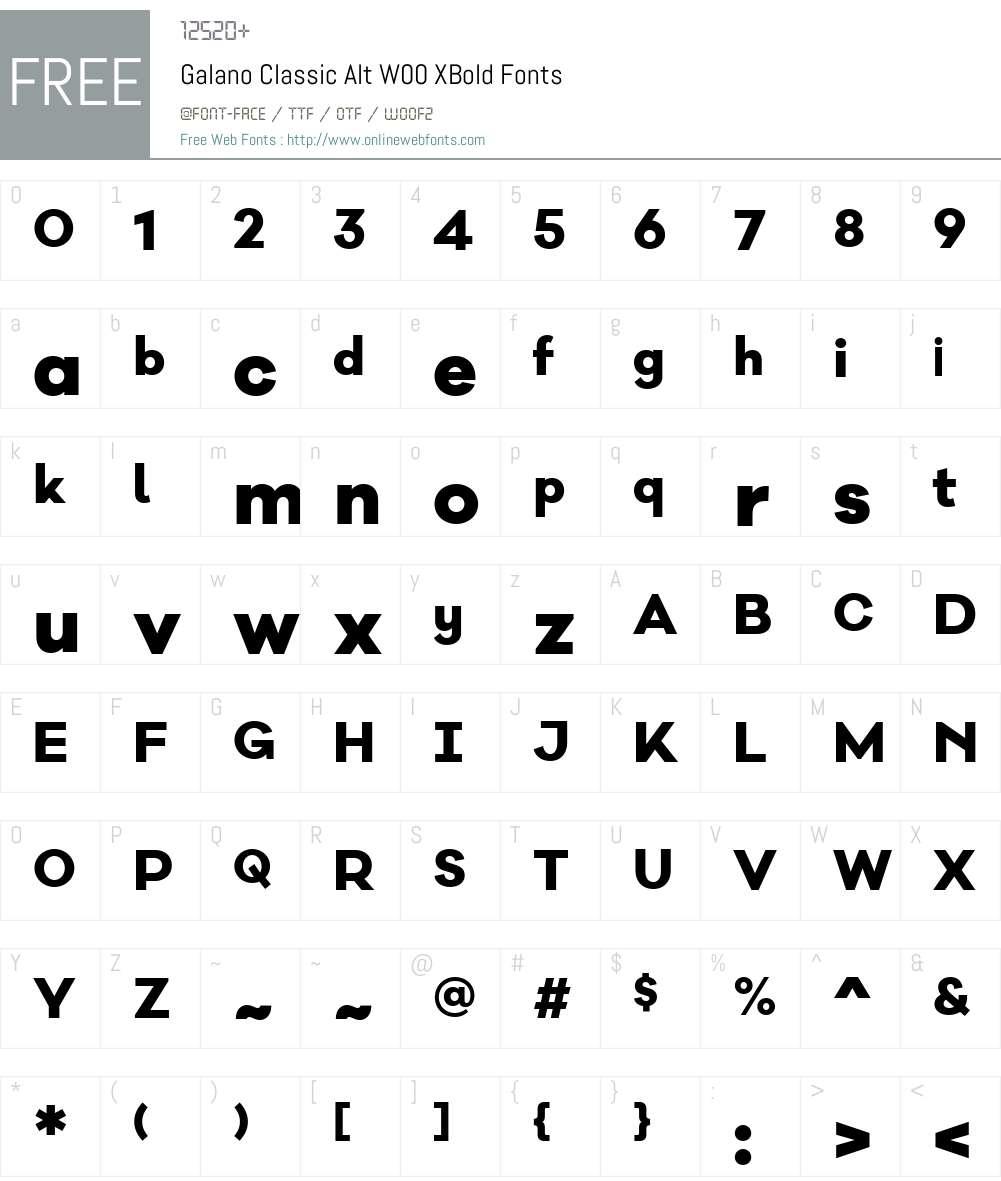 GalanoClassicAltW00-XBold Font Screenshots