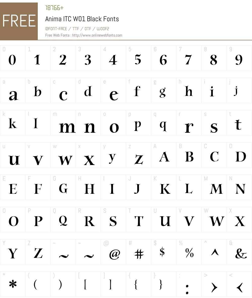 AnimaITCW01-Black Font Screenshots
