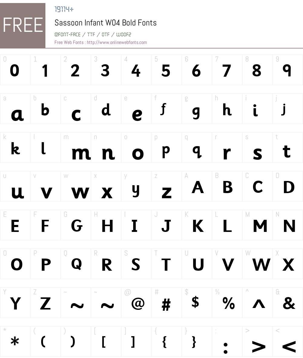 SassoonInfantW04-Bold Font Screenshots