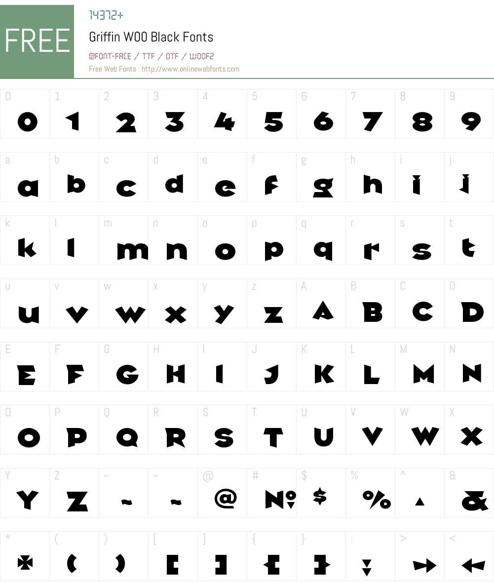 GriffinW00-Black Font Screenshots