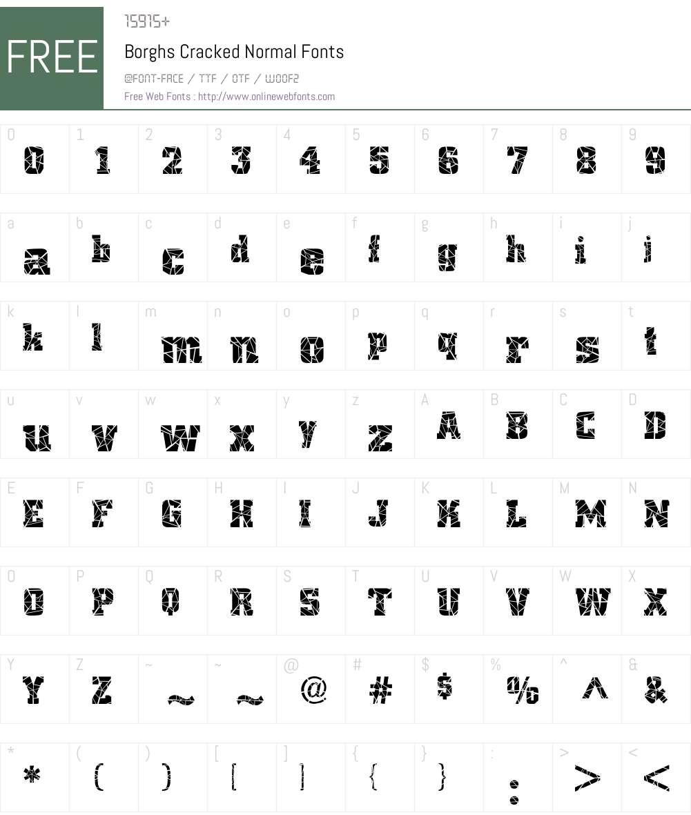 Borghs Cracked Font Screenshots