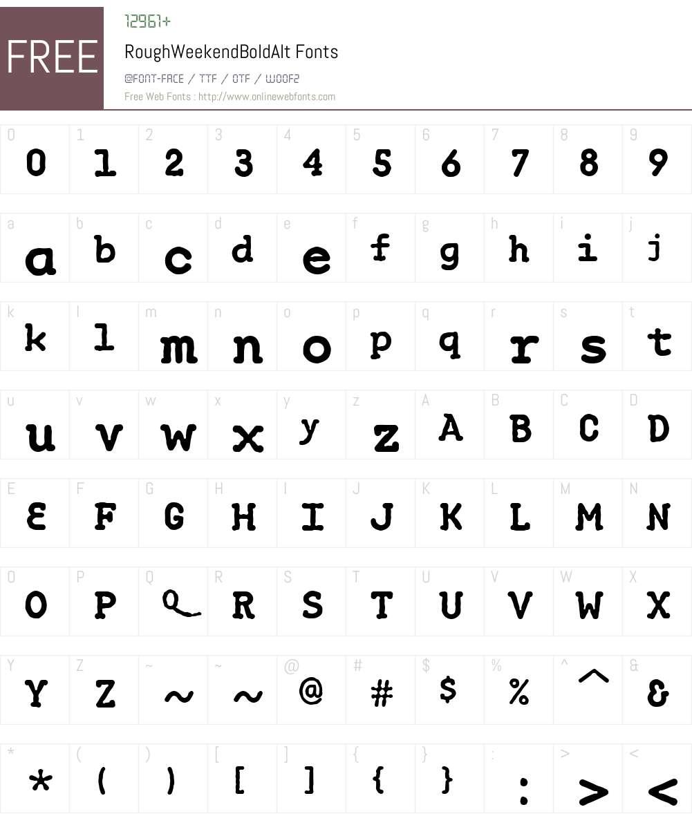 RoughWeekendW00-BdAlt Font Screenshots