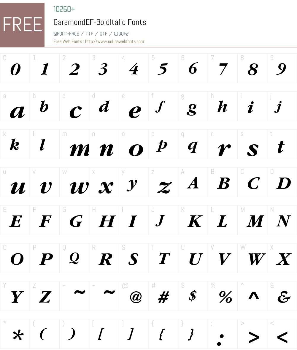 GaramondEF Font Screenshots