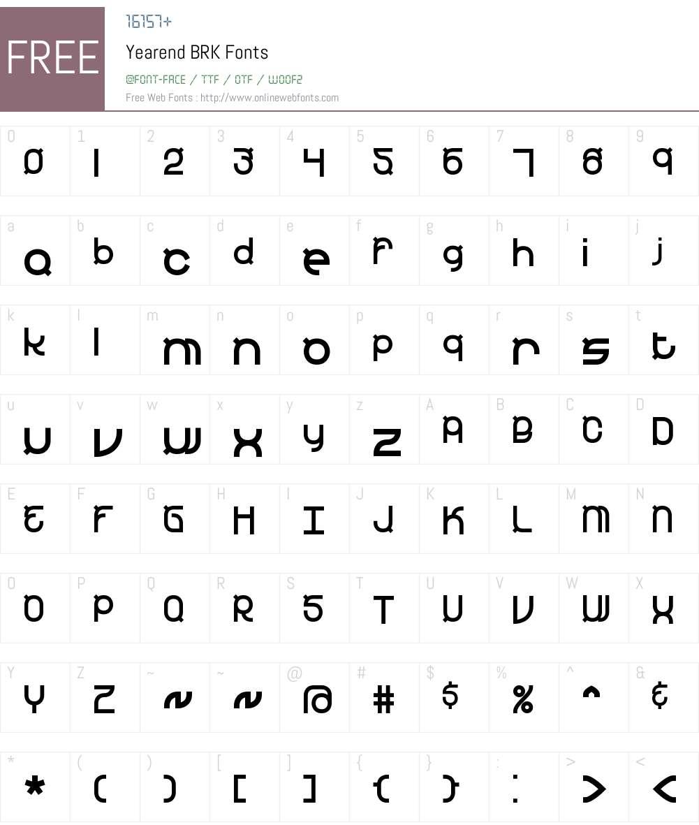 Yearend BRK Font Screenshots