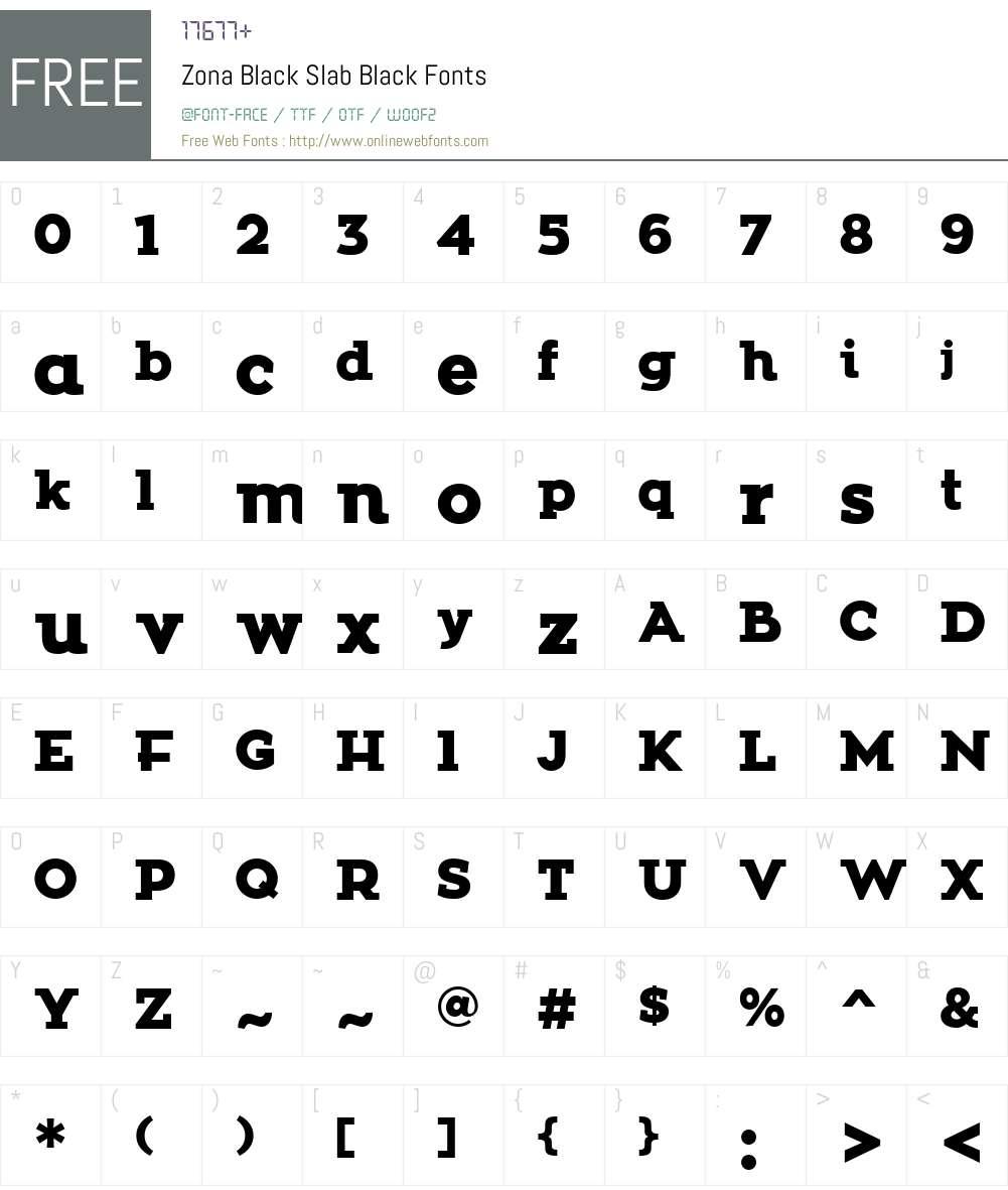 Zona Black Slab Font Screenshots