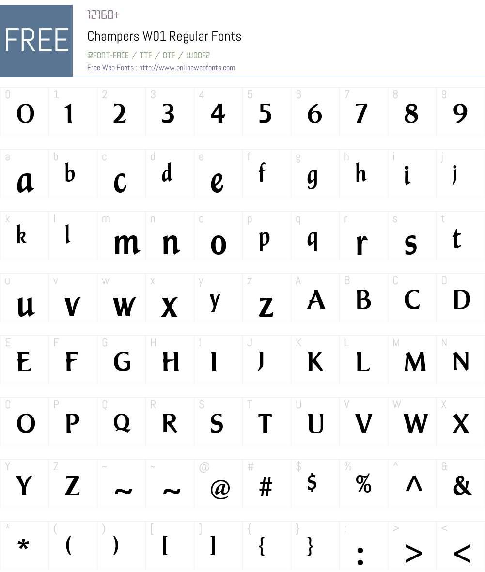 ChampersW01-Regular Font Screenshots