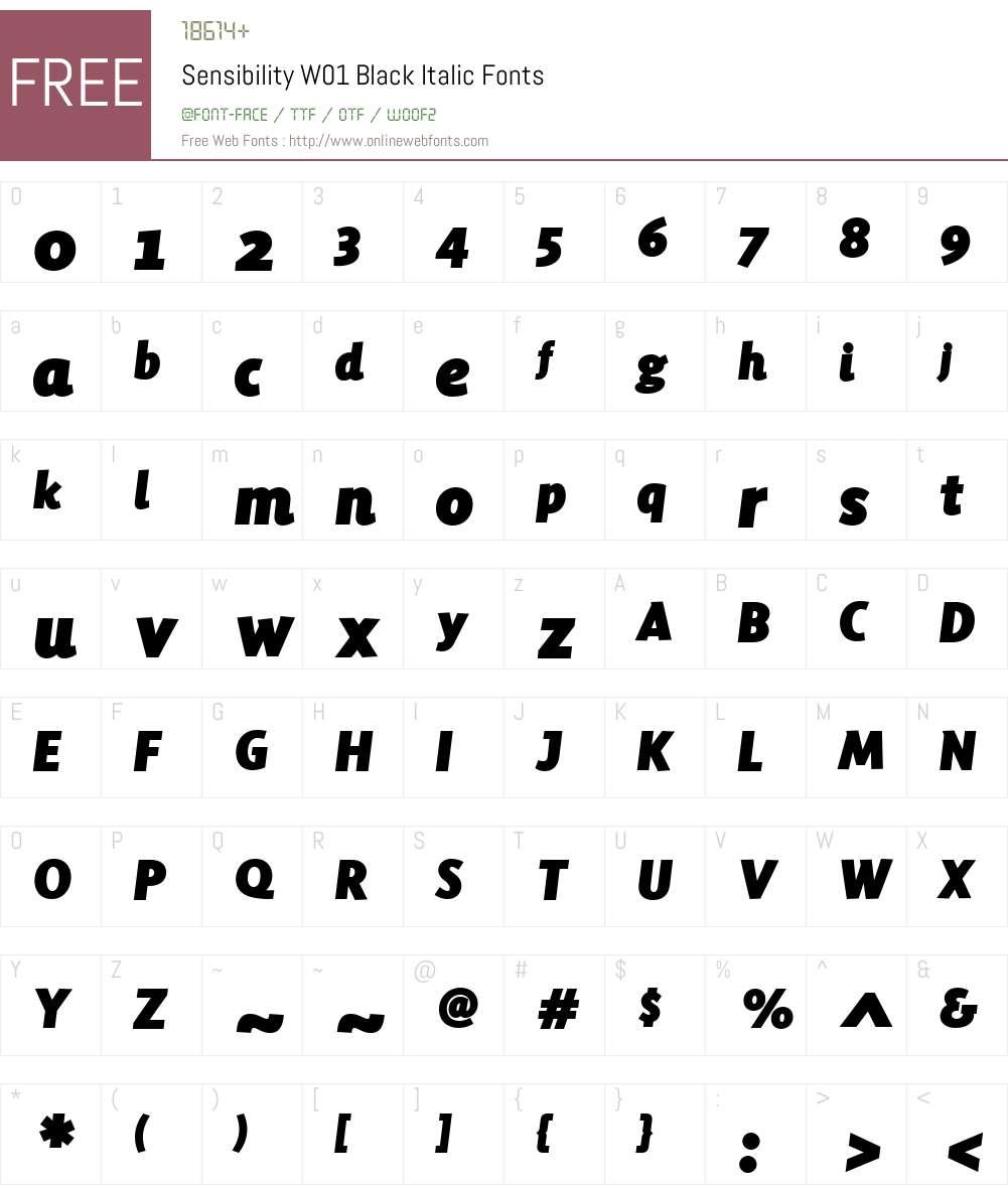 SensibilityW01-BlackItalic Font Screenshots