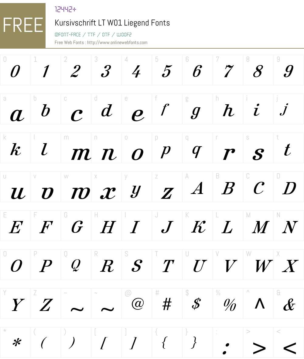 KursivschriftLTW01-Liegend Font Screenshots