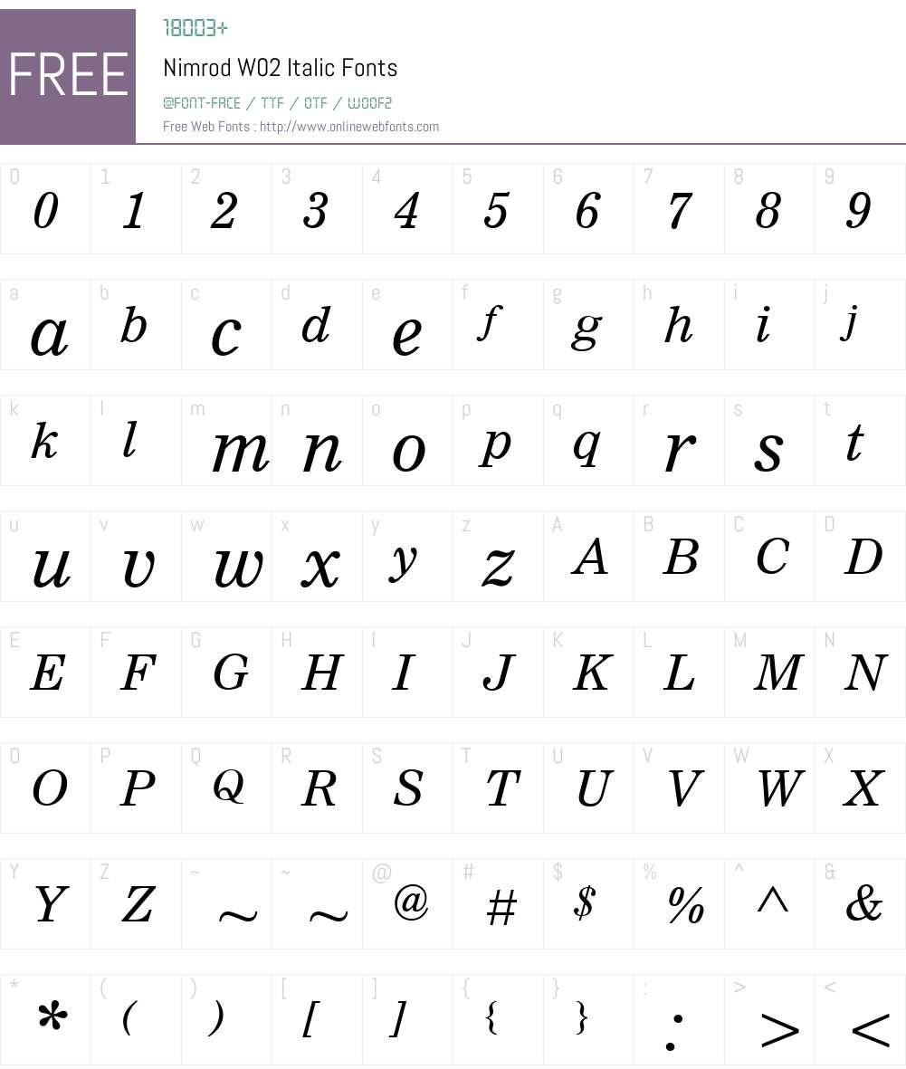 NimrodW02-Italic Font Screenshots