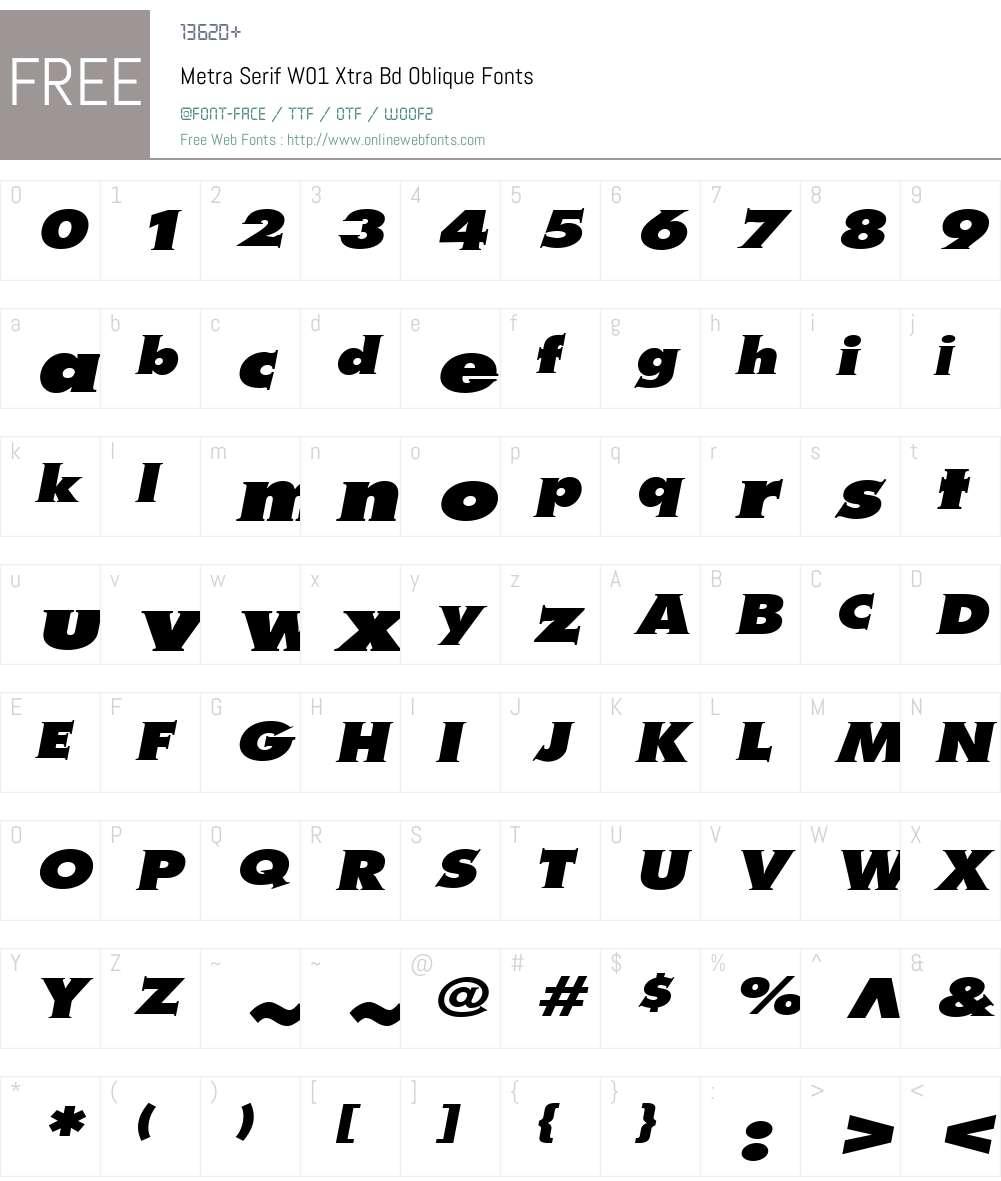 MetraSerifW01-XtraBdOblique Font Screenshots
