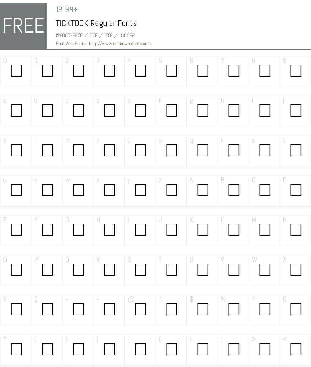 TICKTOCK Font Screenshots