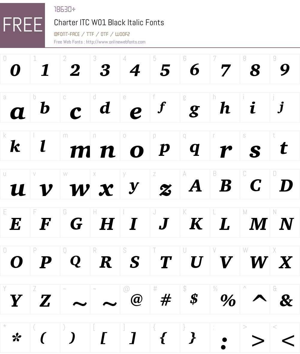 CharterITCW01-BlackItalic Font Screenshots