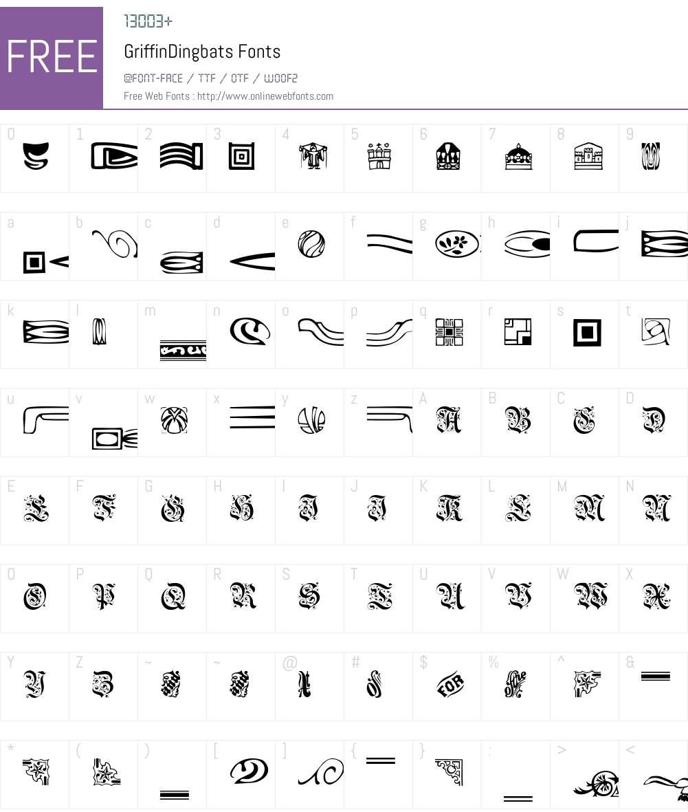 GriffinDingbats Font Screenshots