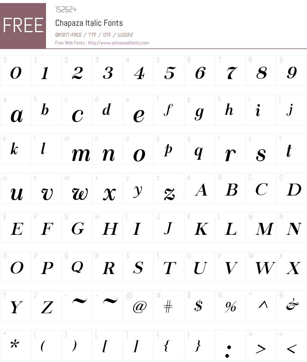 Chapaza Italic Font Screenshots