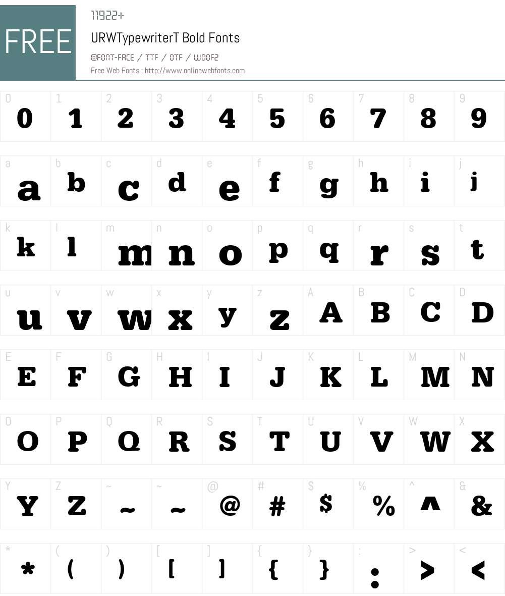 URWTypewriterT Font Screenshots